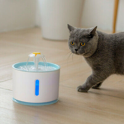 LED Pet Water Fountain For Cat Dog Automatic Water Drinking Bowl Dish Dispenser