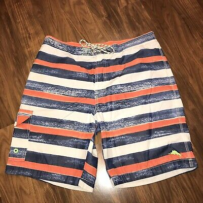 c0216dfe99 Mens Large TOMMY BAHAMA Board Shorts Striped MARLIN LOGO Swim suit Trunks  RELAX