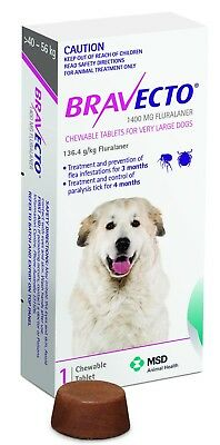 Bravecto for Very Large Dog Purple +40kg - 1 Chew for Flea & Tick Control