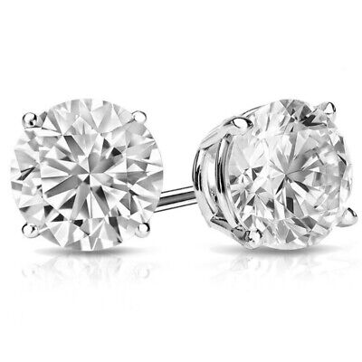 2.00Ct Round Earrings Studs Solid Brilliant Cut Basket Screw Back 14K White Gold