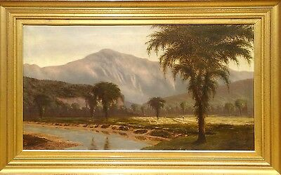 Large 19th Century South American Plantation Landscape Antique Oil Painting