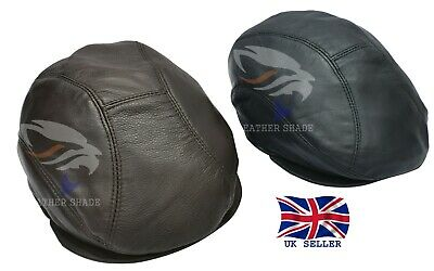 Real Leather Ivy Cap Distressed Leather Gatsby Newsboy Brown Black Flat Cap Hat