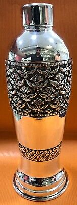 925 Sterling Silver Bottle 33.81 Oz Floral Repoussé Healthy Water Flask