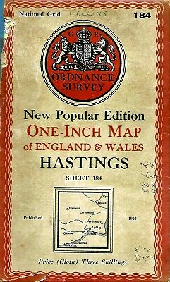 Ordnance Survey Map No 184 HASTINGS - Cloth - 1940