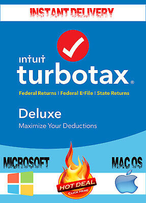 Turbotax Deluxe 2018 Returns state Federal * E-File for Windows & Mac OS