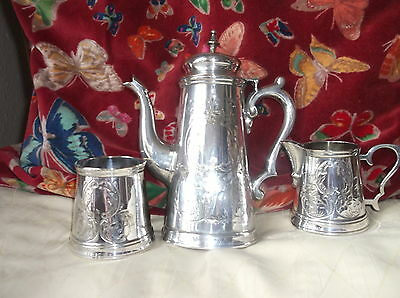 Superb Silver Plated Coffee Set Pot Cream Jug & Sugar Bowl Chased Garlands