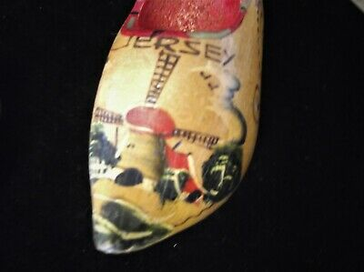 Vintage Mini Handpainted Carved Wooden Dutch Clog Pin Cushion Needs Pad Jersey