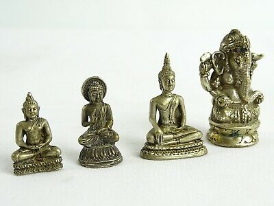 4 Small Brass Personal Oriental Dieties inc Ganesh Thai and fine cast Late 20thC