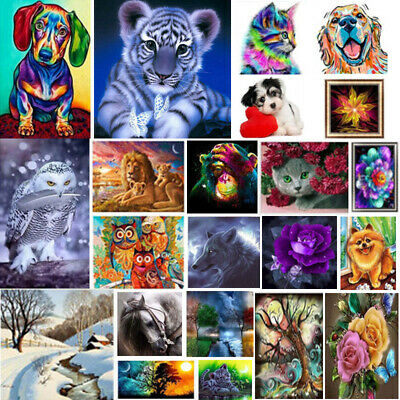 5D DIY Diamond Painting Embroidery Cat Pictures Arts Craft Kit Mural Decorations