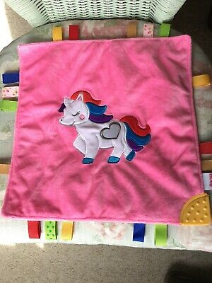 Nuby Unicorn Pony Pink Comforter Blankie Soft Toy Soother Doudou Teether Taggies