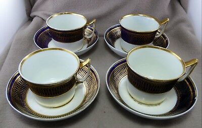 Set of 4 Derby Porcelain Tea Cups and saucers pattern 760 c 1810