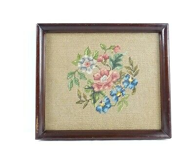 Antique Australain Floral Tapestry Bouquet of Flowers in Oak frame Australia