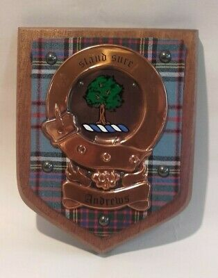 Vintage Scottish / SCOTLAND  Clan Andrews Tartan Plaque Crest Shield / Mahogany
