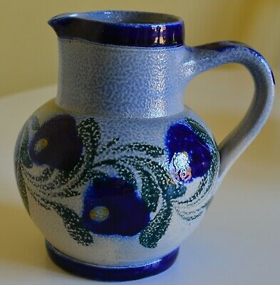 Gres D'Alsace Schmitter French Stoneware Blue/Green Pottery Handled Jug/Vase