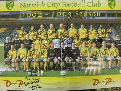 2002/2003 Norwich City: Autographed/Hand Signed Team Group Poster, Large Format,