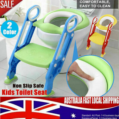 Double Armrest Baby Toddler Soft Toilet Chair Ladder Adjustable Potty Seat AU