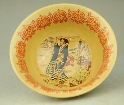 Delicate Chinese Pastel Yellow Glaze Porcelain Hand Maid Dragon Bowl