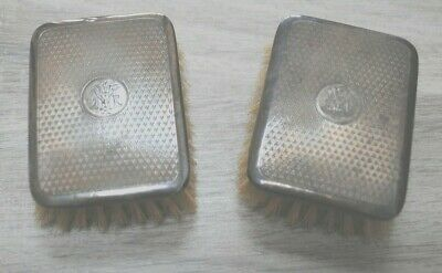 Gents silver backed hair brushes with hallmark