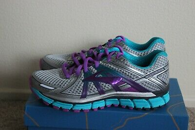 33ded7781ed BROOKS ADRENALINE GTS 17 Womens Size 8 Running Sneakers Shoes Silver Purple  Blue
