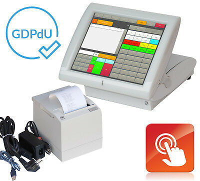 "Cash Register System for Retail Aures 38cm 15 "" Elo Touchscreen & Printer Gdpdu"