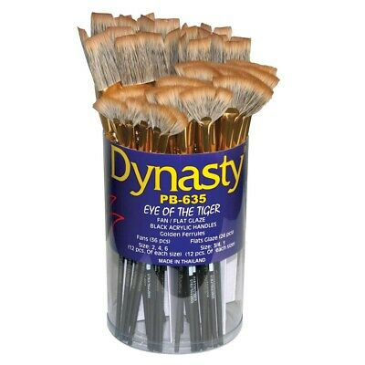 Dynasty Eye of The Tiger Flat and Fan Brush Assortment  - 60 Flats & Fans