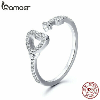 BAMOER Solid S925 Sterling silver Ring Heartslock With AAA CZ For Women Jewelry