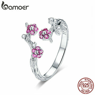 BAMOER Solid S925 Sterling silver Ring Wintersweet With AAA CZ For Women Jewelry