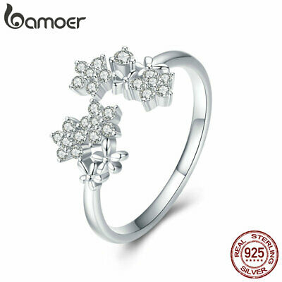 BAMOER Solid S925 Sterling silver Ring Gypsophila With AAA CZ For Women Jewelry