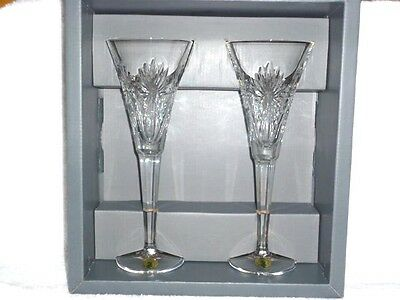 Pair of Waterford Crystal Millennium Series Fluted Champagne Health