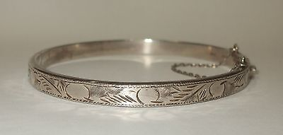 Hard-Working Vintage Silver 925 Hinged Bangle Jewelry & Watches Precious Metal Without Stones