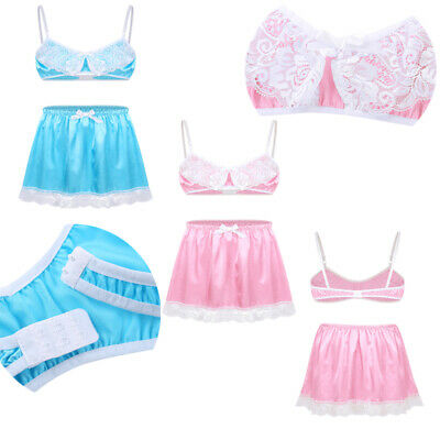 Sissy Mens Crossdress Bra Crop Top Dress Lingerie Satin Short Skirt Pajamas Set