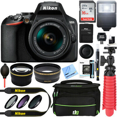 Nikon D3500 24.2MP DSLR Camera + 18-55mm f/3.5-5.6G VR Lens + 16GB Memory Bundle