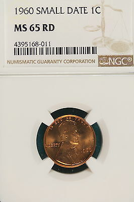 1960 NGC MS65 RED SMALL DATE Lincoln Memorial Cent!! #A6351