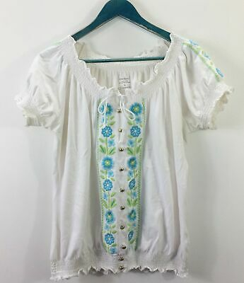 4d1cf801738a2d CHELSEA   THEODORE Women s Peasant Top Blue and White Floral - Size ...