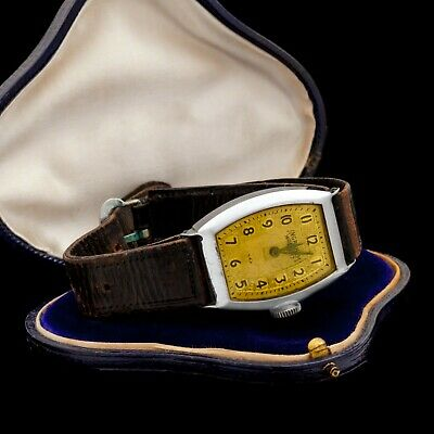 Antique Vintage Deco Retro Stainless Steel INGRAHAM American Mens Wrist Watch