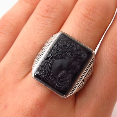 925 Sterling Silver Antique Art-Deco Carnelian Cameo Ancient Gods Ring Size 9