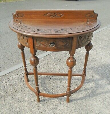 Highly Carved Antique Oak Hall Table With Drawer      Delivery Available