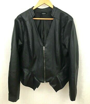 ac66d48b2f9 TORRID WOMENS LEATHER Jacket Drape Front High Low Quilted Mixed ...