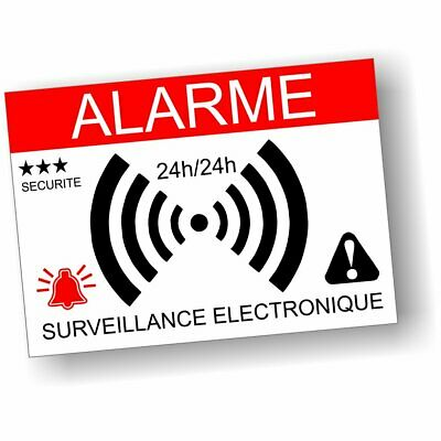 Autocollants Dissuasifs Alarme Surveillance Electronique Lot de 10 -7,4 x 5,2 cm