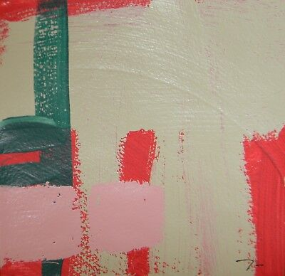 JOSE TRUJILLO Acrylic Painting 8x8 Pink Red Green ABSTRACT Small Square Decor