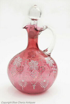 Victorian Antique Hand Painted White Enamel & Cranberry Glass Wine Jug Decanter
