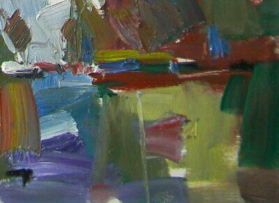 JOSE TRUJILLO Original OIL PAINTING MODERN Collectible 6x8 Expressionism RIVER