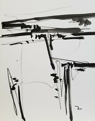 JOSE TRUJILLO ART ACRYLIC on Paper PAINTING 9x12 ABSTRACT LANDSCAPE
