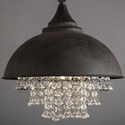 Rustic Industrial Crystal Pendant Light Loft Vintage Style Chandelier Lamps USA
