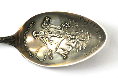 """Sterling Silver Chief Handle Out on the Planes Cowboy Roping KC MO Bowl 5-7/8"""""""