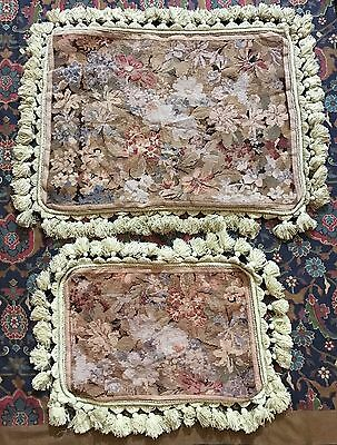 """Antique French Aubusson Stayl Tapestry Needle Point Cushion 16"""" By 20"""" /"""