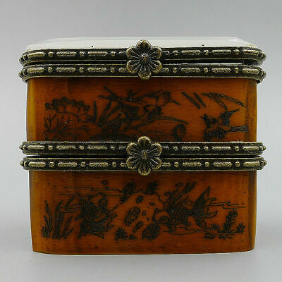 Old Dressing Case Crafts Jewelry Box Hand Painting China Ancient Natural Bone