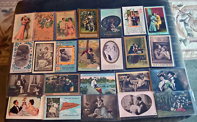 Great Antique Lot of Early 1900's Romance Postcards  50 PCs