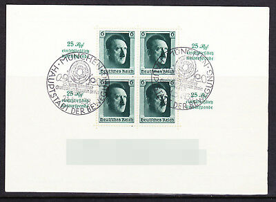 Germany Deutsches Reich 1937 Block 9 Hitler's Culture Fund CTO USED on card