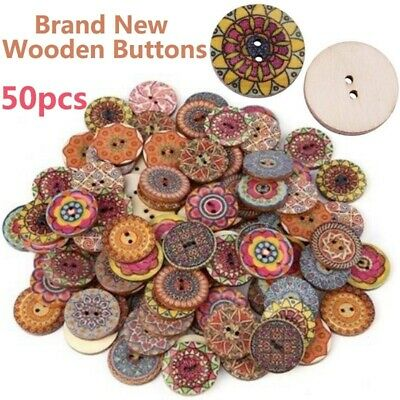 50pcs Mixed Wood Sewing Buttons Goat Pattern 2 Holes Scrapbooking 42mm